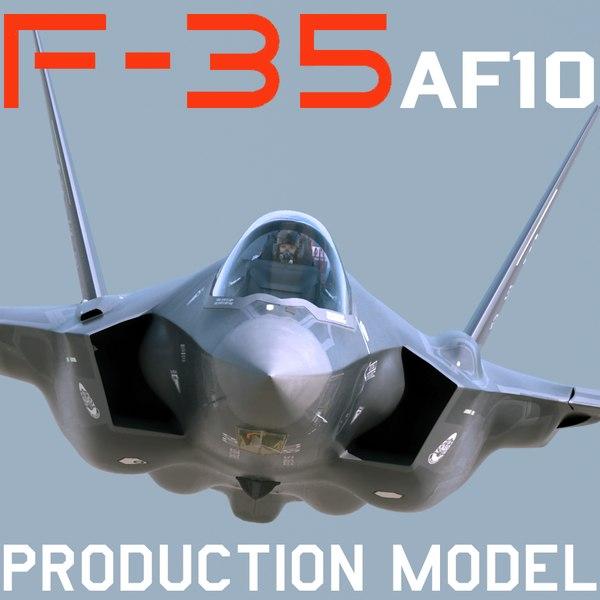 US Air Force F-35 AF-10 Lightning II with pilot 3D Models