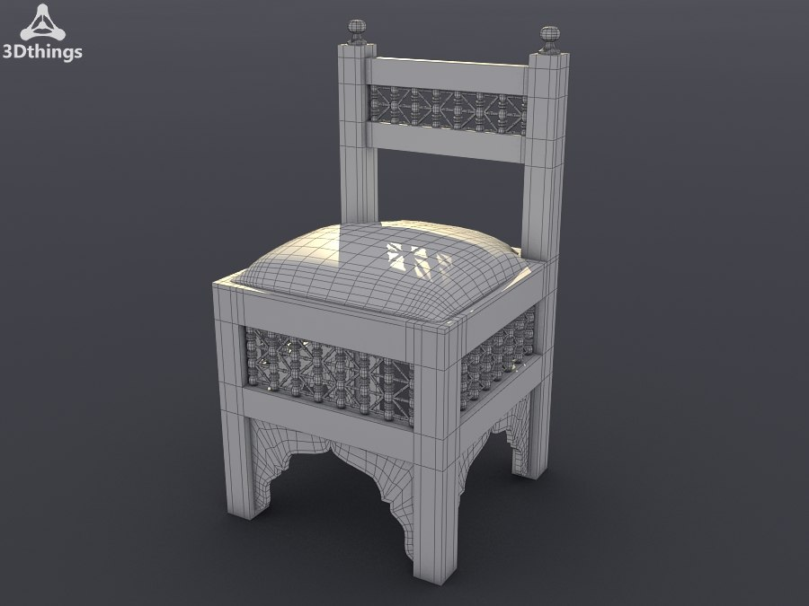 Small Moroccan wooden chair with traditional woven cloth seat.jpg
