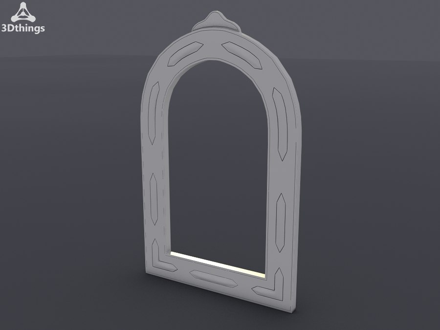 Large Moroccan wooden and camel-bone mirror with silver effect panels