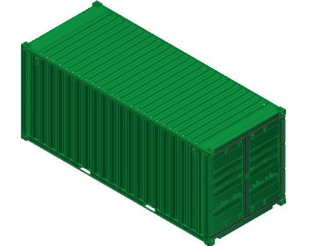 20ft iso shipping container 3d model