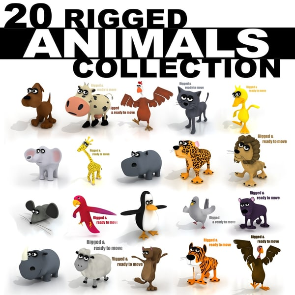 20 RIGGED ANIMALS COLLECTION 3D Models