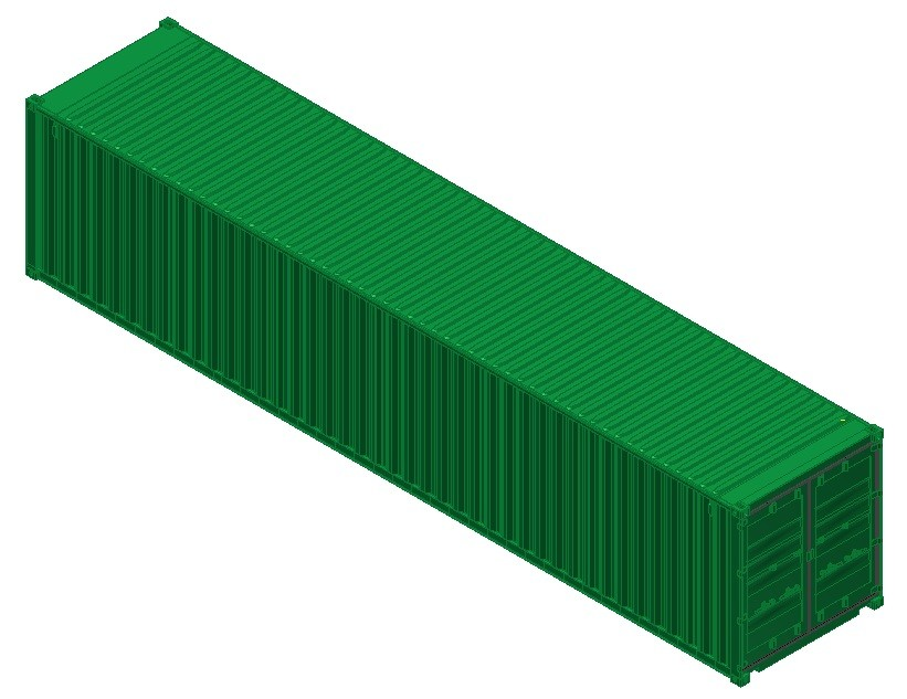 40ft iso shipping container 3d ige for Tall shipping container