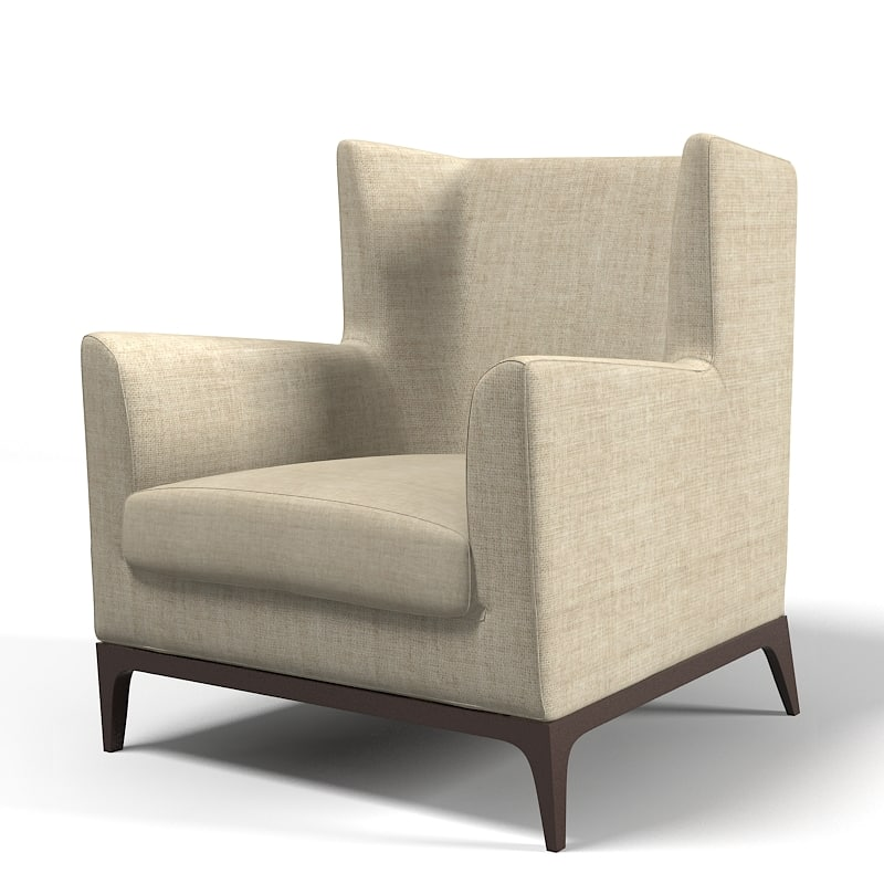 3d model of cole wingback armchair