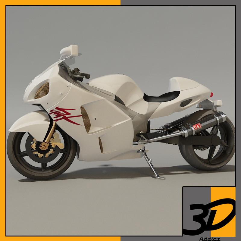 3d model suzuki hayabusa turbo