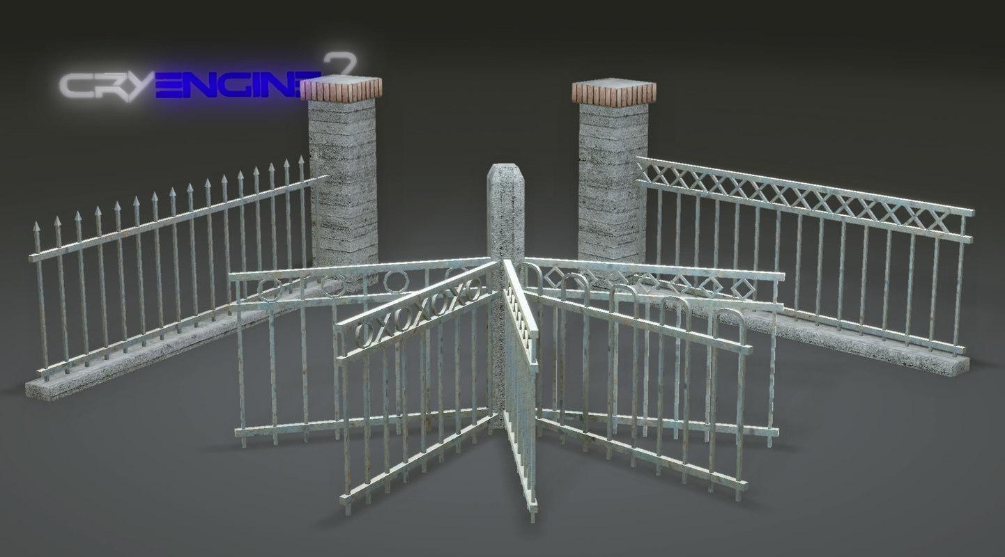 Metal Fence Pack | Modular | Game Ready