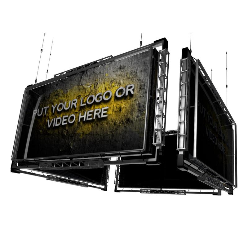 3d video screen jumbotron model