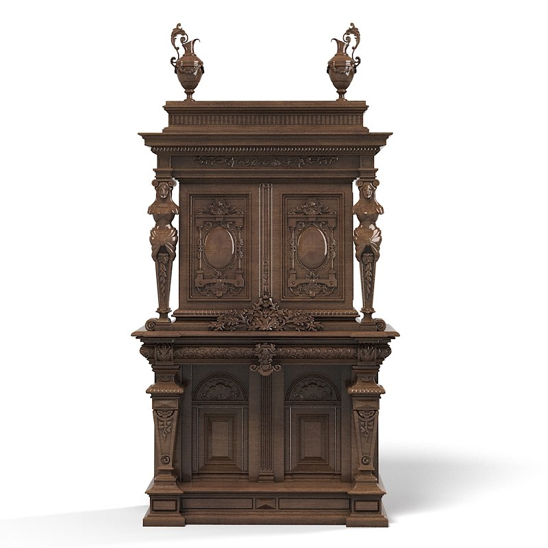 Baroque wardrobe armoire tv media cabinet big antique carved victorian furniture cupboard box case.jpg