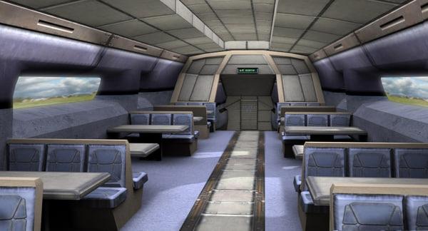 Futuristic Train Interior train Interior 3D Models