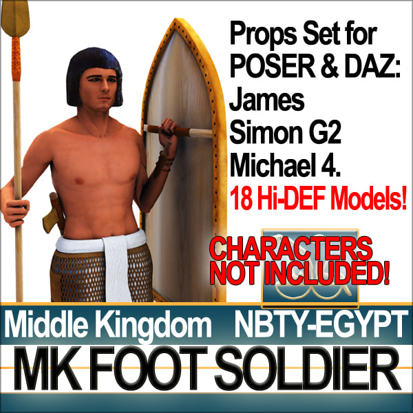 Props Set Poser Daz for Ancient Egyptian MK Foot Soldier