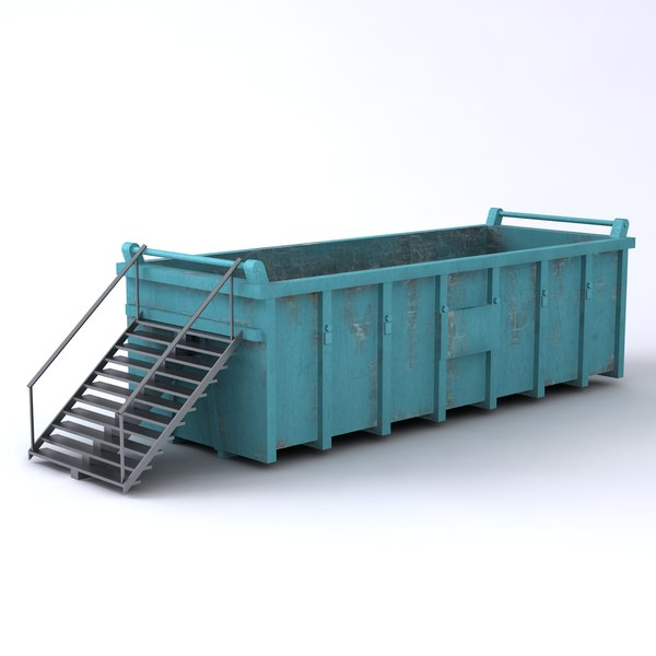Large Waste Container and Steps 3D Models