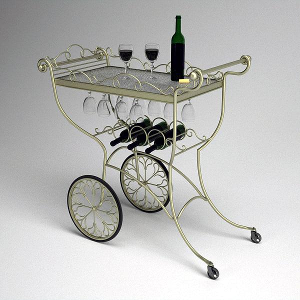 Ornate Metal Wine or Tea Serving Cart 3D Models