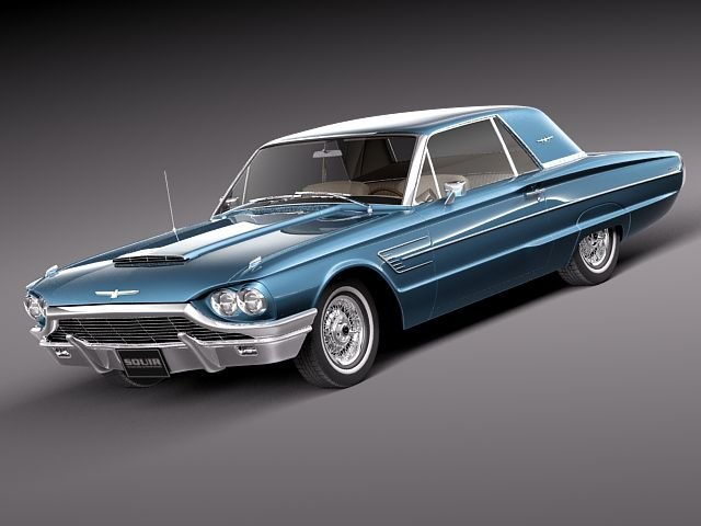 thunderbird 1965 coupe antique c4d