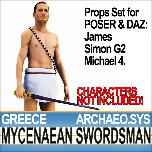 Props Set Poser Daz for Ancient Greek Mycenaean Swordsman