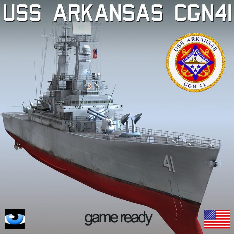 USS Arkansas CGN-41 with SH-60