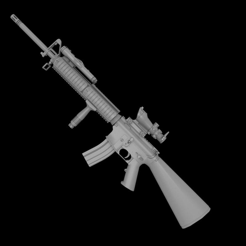 3d model m16a4 acog m16 assault M16 Acog