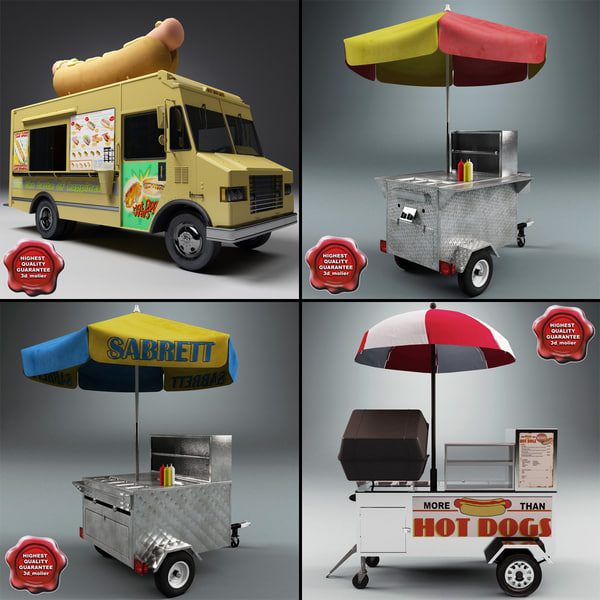 Hot Dog Carts Collection 3D Models