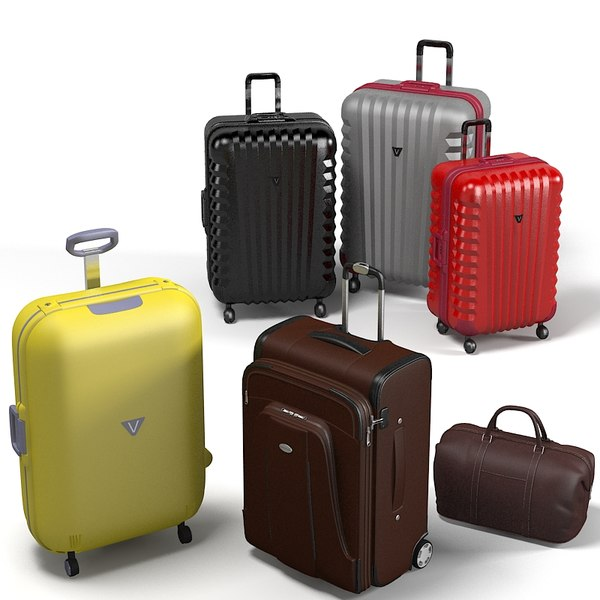 Travel Airline carry on Luggage bag trolley grand collection 3D Models