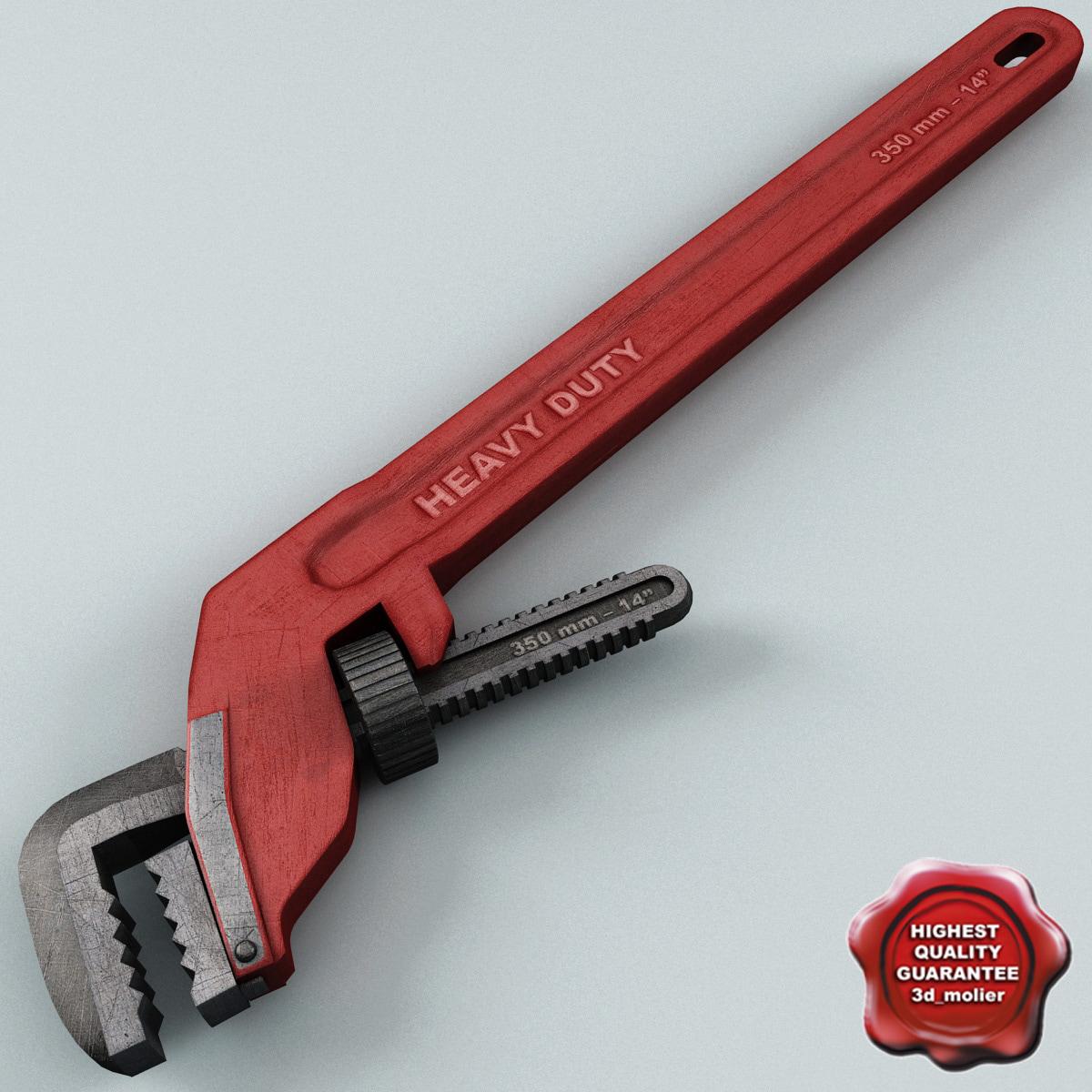 pipe wrench v2 3d model