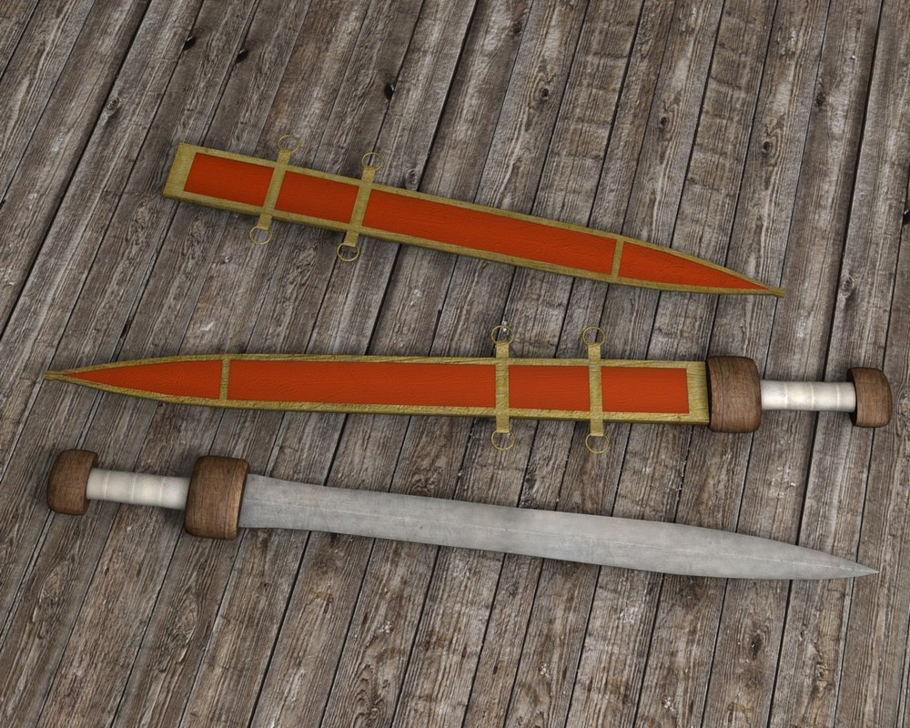 roman gladius sword weapon 3d model