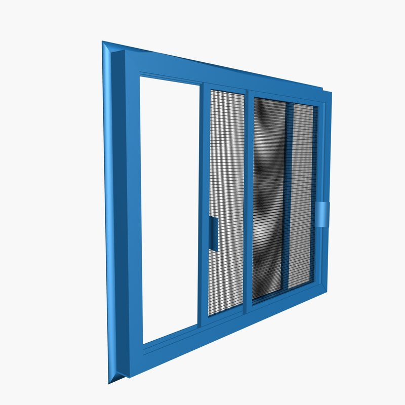 3d model double sliding insect screen for Sliding insect screens windows