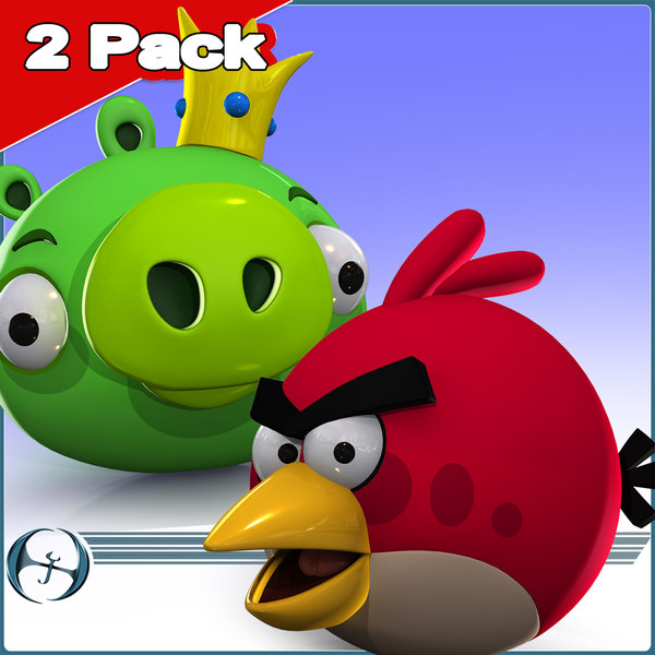 2Pack: Angry Birds (Pig King & Red) 3D Models