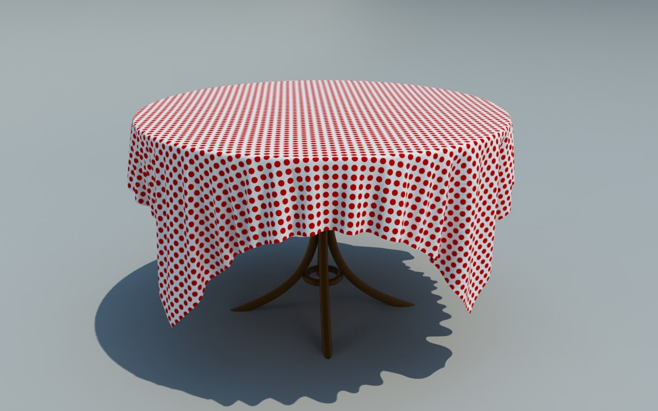 Table with simulated cloth