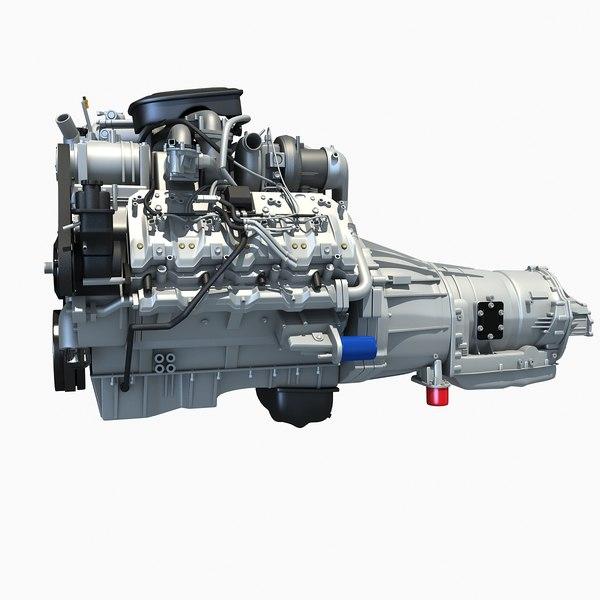 V8 Engine with Automatic Transmission 3D Models