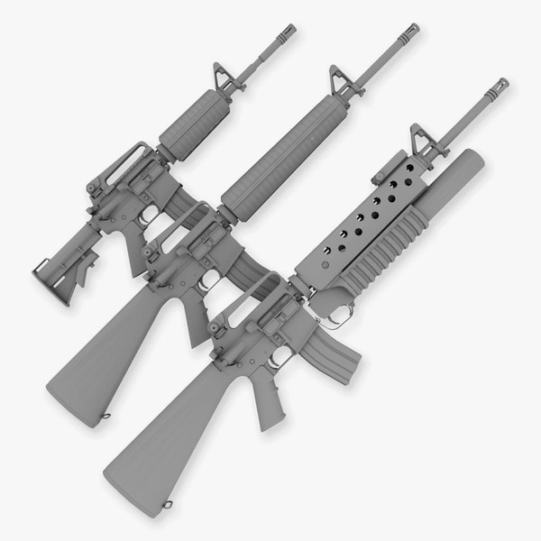M4 M16a2 and M203 collection 3D Models