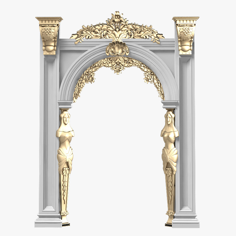 Portico arcade baroque 3d model for Decor 3d model