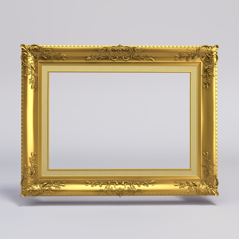 Paint For Glasses Frame : gold painting frame 3ds