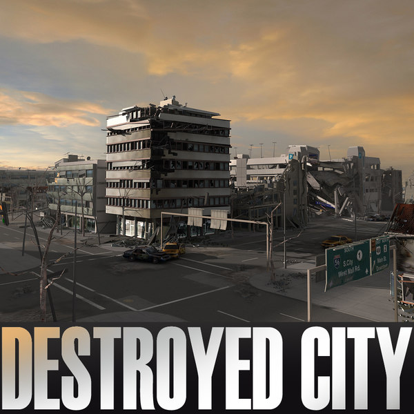 Destroyed City Blocks 3D Models