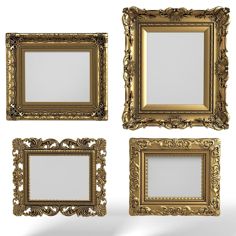 Baroque  Picture Frames Set MIRROR CARVING VICTORIAN TRADITIONAL HOME DECOR ACCENT VINTAGE OLD ANTIQUE.jpg