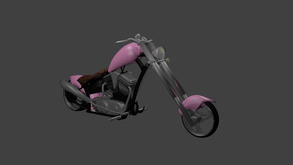 3d pink chopper motorcycle model