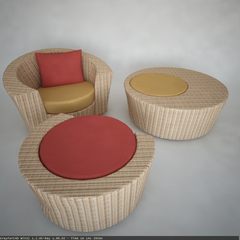 Lounge chair, footstool and coffe table.