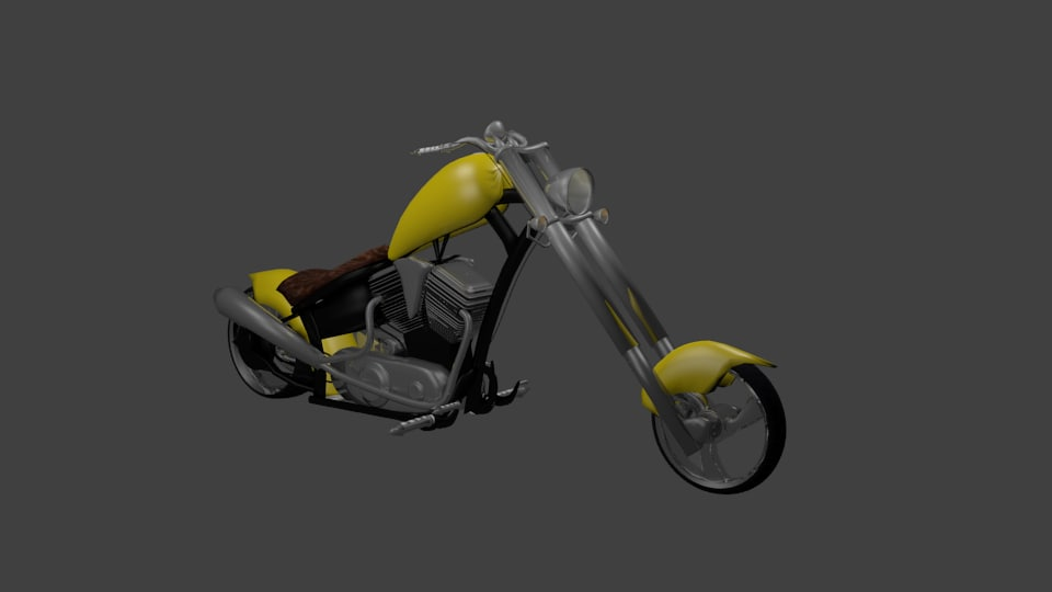 yellow chopper motorcycle 3d 3ds