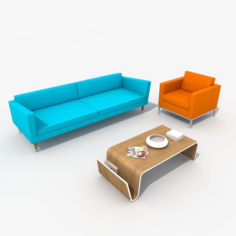 Retro sofa set chair 3d model for Chair design 3ds max