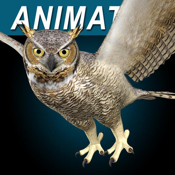 Great Horned Owl ( Flying ) 3D Models