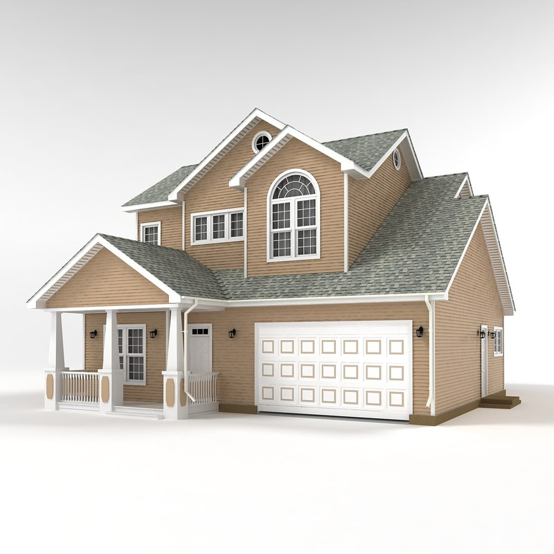 3d two story cottage model 3d model house design