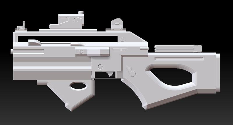 blender sub machine gun rifle