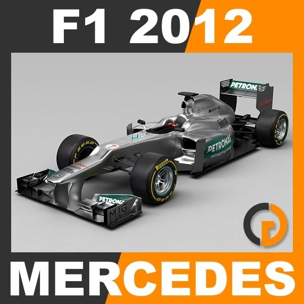 F1 2012 Mercedes W03 - Mercedes AMG Petronas F1 Team 3D Models