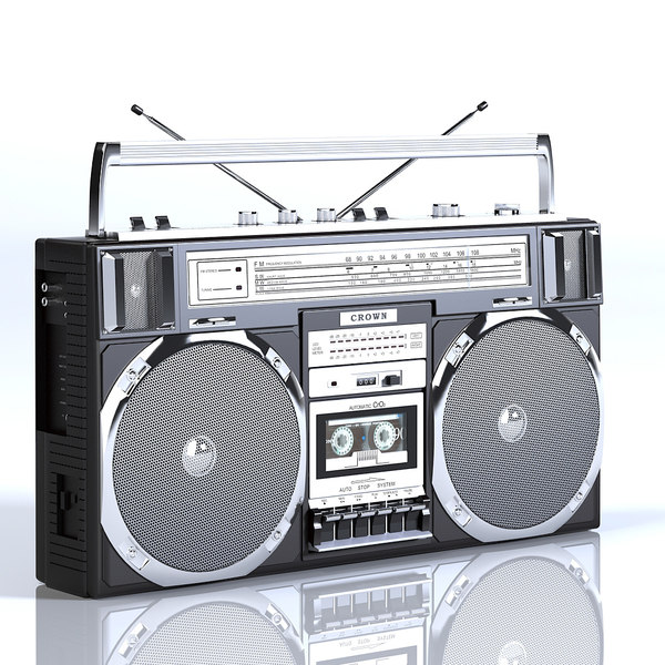 Crown Black Boombox 3D Models