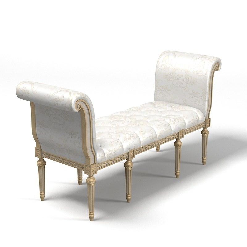 classic bedroom ottoman 3d model