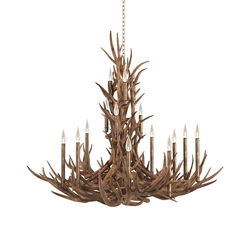 tall spruce mule deer antle  through real antler chandelier horn traditional hunter 0001.jpg