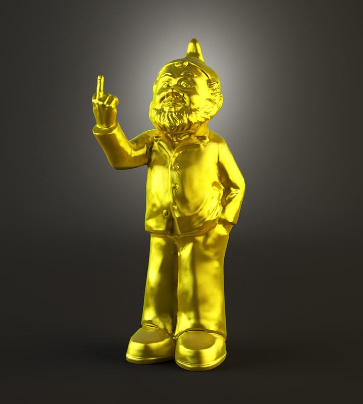 3d 3ds golden gnome gold