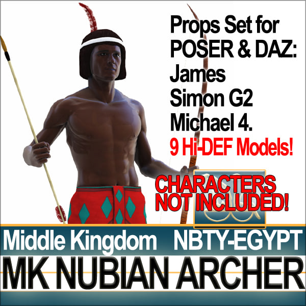 Props Set Poser Daz for Ancient Egypt MK Nubian Archer