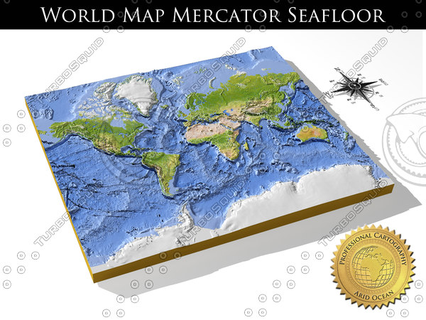 WorldMercator SeaFloor, High resolution 3D relief maps Texture Maps
