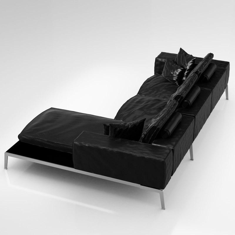3d flexform lifesteel 178 cm model for Sofa 90 cm sitztiefe