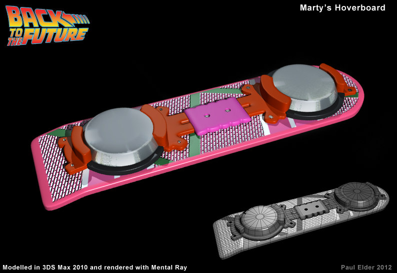 3d model hoverboard marty mcfly