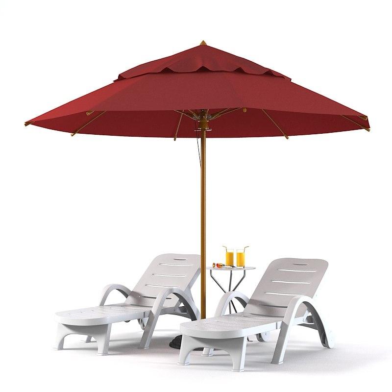 3d beach set sun model for 3 in 1 beach chaise lounge