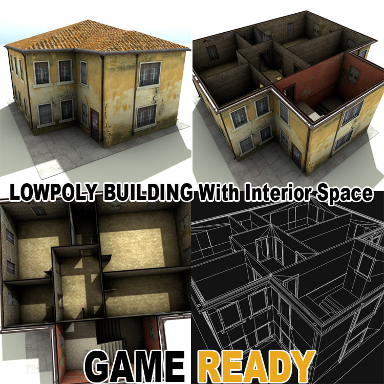 Weathered Houses Games Building 3d 3ds
